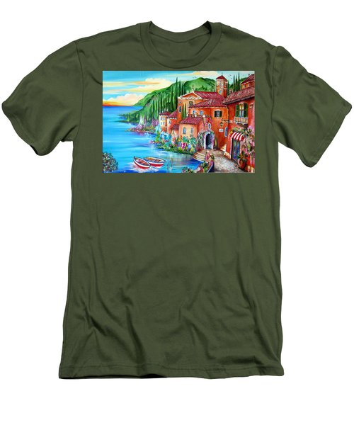 Via Positano By The Lake Men's T-Shirt (Slim Fit) by Roberto Gagliardi