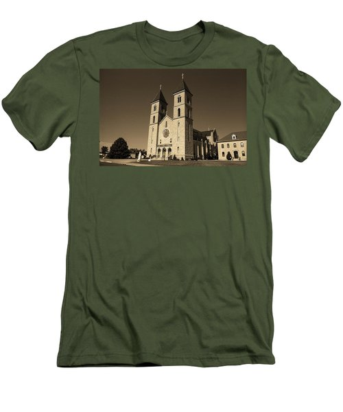 Men's T-Shirt (Slim Fit) featuring the photograph Victoria, Kansas - Cathedral Of The Plains Sepia 6 by Frank Romeo