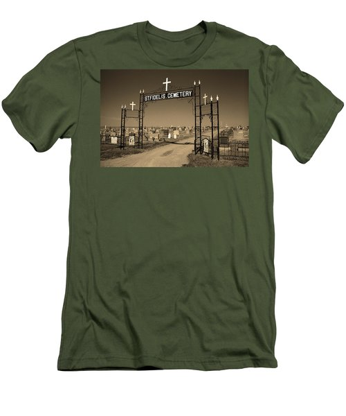 Men's T-Shirt (Slim Fit) featuring the photograph Victoria, Kansas - St. Fidelis Cemetery Sepia by Frank Romeo