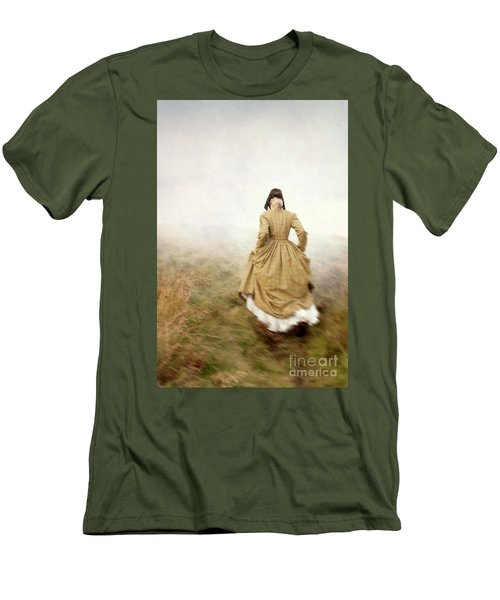 Victorian Woman Running On The Misty Moors Men's T-Shirt (Athletic Fit)