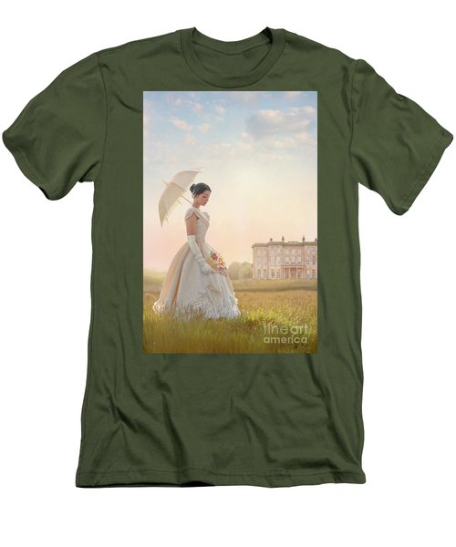 Victorian Woman With Parasol And Fan Men's T-Shirt (Slim Fit) by Lee Avison