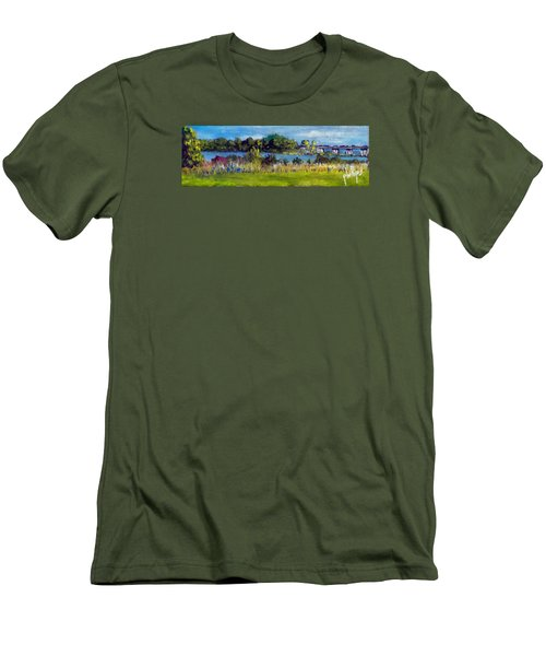 Men's T-Shirt (Slim Fit) featuring the painting View From Sturgeon City Park by Jim Phillips
