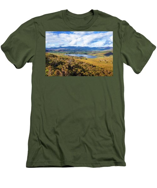Men's T-Shirt (Slim Fit) featuring the photograph View Of Lough Acoose In Ballycullane From The Foothill Of Macgil by Semmick Photo