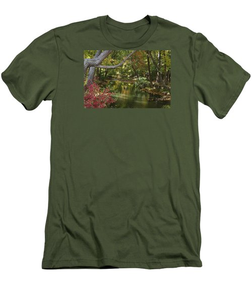 View Of The Mill River Men's T-Shirt (Slim Fit) by Margie Avellino