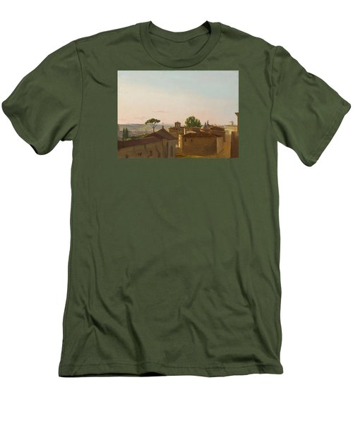 Men's T-Shirt (Slim Fit) featuring the painting View On The Quirinal Hill. Rome by Simon Denis