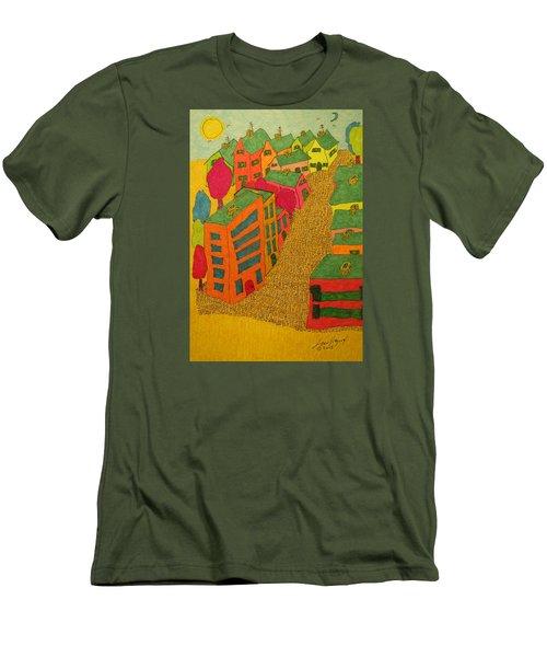 Village With Blue Sliver Moon Men's T-Shirt (Athletic Fit)