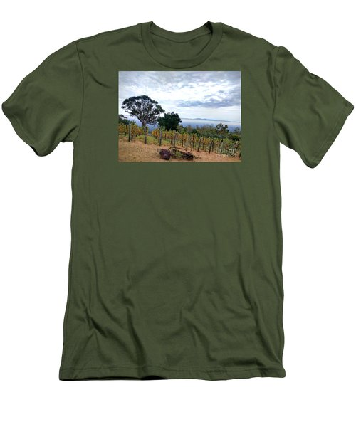 Men's T-Shirt (Slim Fit) featuring the photograph Vineyard Over The City by Haleh Mahbod