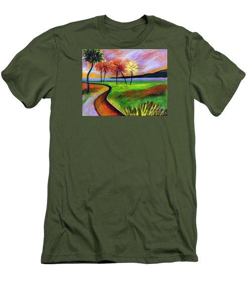 Vinoy Park In Purple Men's T-Shirt (Slim Fit) by Elizabeth Fontaine-Barr
