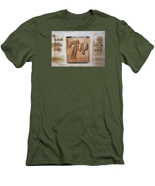 Men's T-Shirt (Slim Fit) featuring the photograph Vintage 7 Up Sign by Christina Lihani
