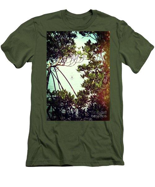 Men's T-Shirt (Athletic Fit) featuring the digital art Vintage Banana Spider by Megan Dirsa-DuBois