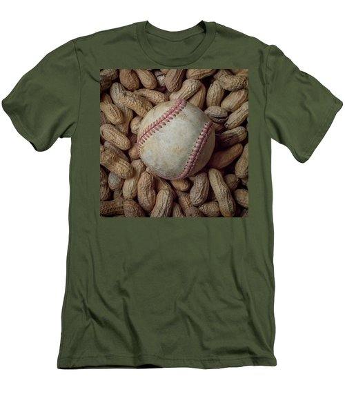 Men's T-Shirt (Slim Fit) featuring the photograph Vintage Baseball And Peanuts Square by Terry DeLuco