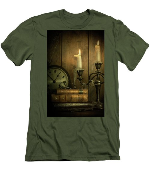 Vintage Books With Candles And An Old Clock Men's T-Shirt (Athletic Fit)