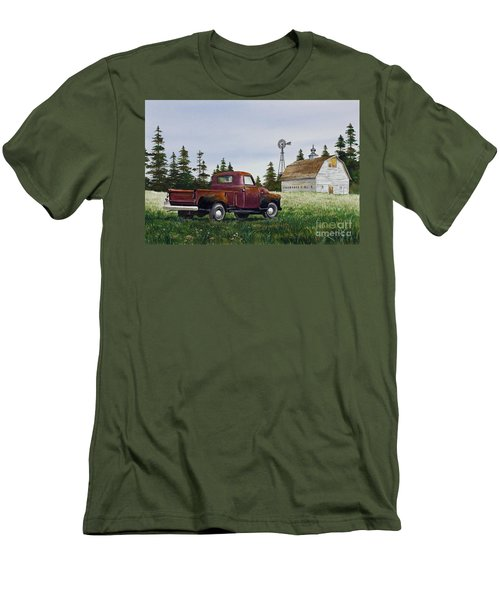Men's T-Shirt (Slim Fit) featuring the painting Vintage Country Pickup by James Williamson