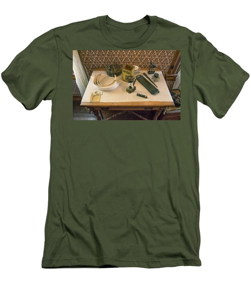 Men's T-Shirt (Athletic Fit) featuring the photograph Vintage Gentlemen's Preparation Table by Gary Slawsky