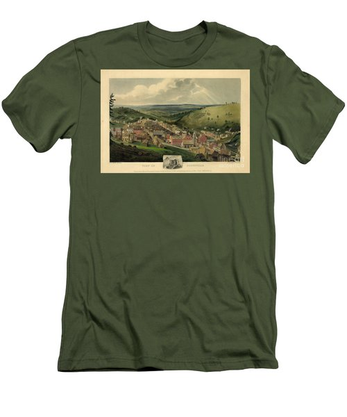 Men's T-Shirt (Slim Fit) featuring the photograph Vintage Pottsville Pennsylvania Etching With Remarque by John Stephens