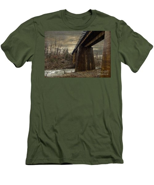 Men's T-Shirt (Slim Fit) featuring the photograph Vintage Railroad Trestle by Melissa Messick