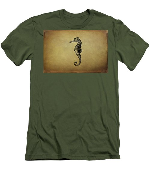 Vintage Seahorse Illustration Men's T-Shirt (Slim Fit) by Peggy Collins
