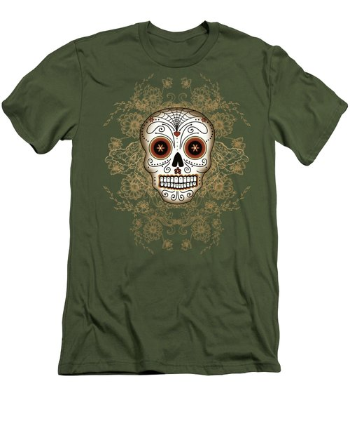 Vintage Sugar Skull Men's T-Shirt (Athletic Fit)