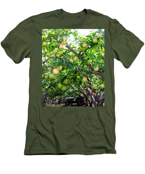 Vintage Tractor In Apple Orchard Men's T-Shirt (Slim Fit) by Will Borden