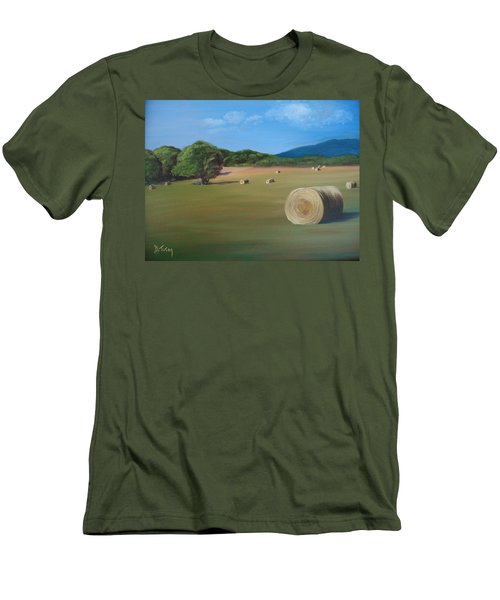 Men's T-Shirt (Slim Fit) featuring the painting Virginia Hay Bales by Donna Tuten