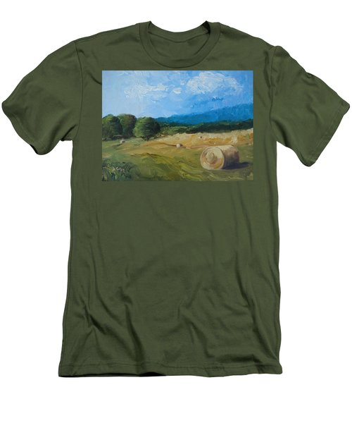 Men's T-Shirt (Slim Fit) featuring the painting Virginia Hay Bales II by Donna Tuten