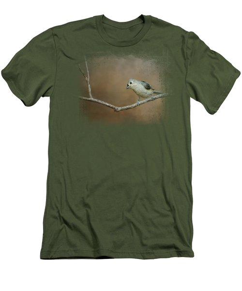 Visiting Tufted Titmouse Men's T-Shirt (Slim Fit) by Jai Johnson