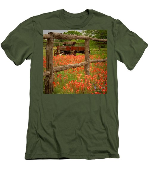 Wagon In Paintbrush - Texas Wildflowers Wagon Fence Landscape Flowers Men's T-Shirt (Athletic Fit)