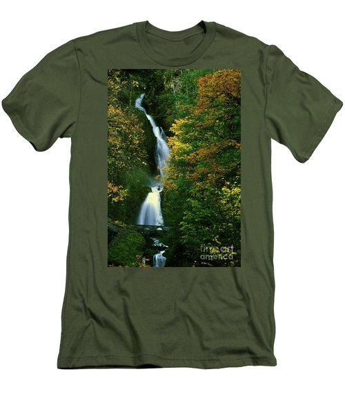 Wahkeena Falls Waterfall Men's T-Shirt (Athletic Fit)