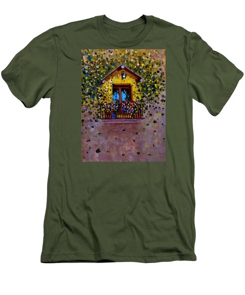 Men's T-Shirt (Slim Fit) featuring the painting Waiting For You..3 by Cristina Mihailescu