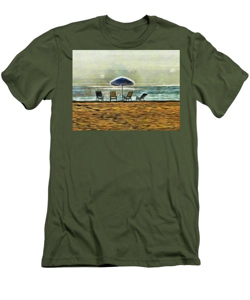 Men's T-Shirt (Slim Fit) featuring the mixed media Waiting On High Tide by Trish Tritz