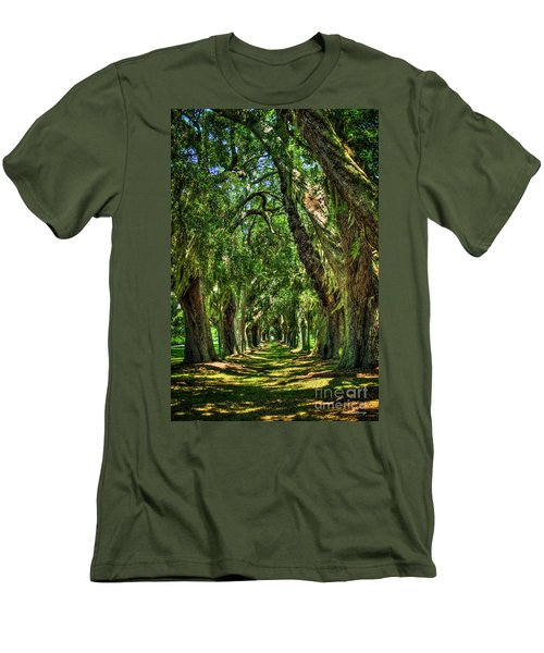 Men's T-Shirt (Slim Fit) featuring the photograph Walk With Me Avenue Of Oaks St Simons Island Art by Reid Callaway
