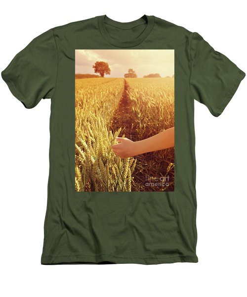 Men's T-Shirt (Slim Fit) featuring the photograph Walking Through Wheat Field by Lyn Randle