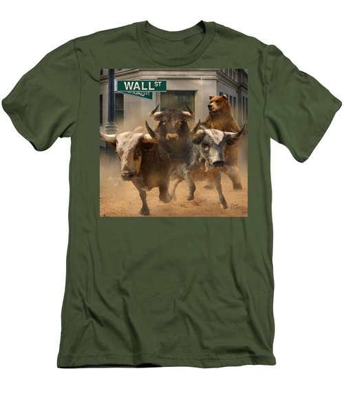 Men's T-Shirt (Slim Fit) featuring the painting Wall Street -- Bull And Bear Markets by Doug Kreuger