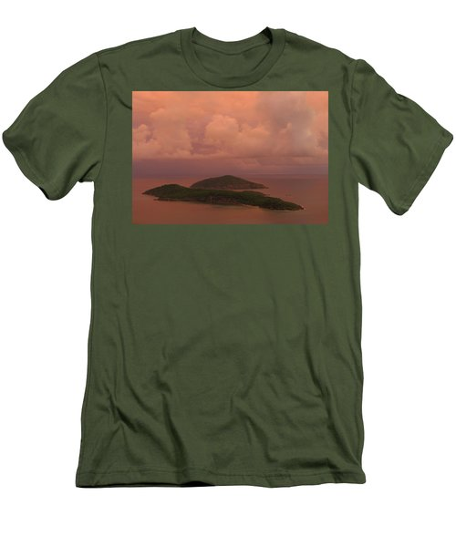 Men's T-Shirt (Slim Fit) featuring the photograph Warm Sunset Palette Of Inner And Outer Brass Islands From St. Thomas by Jetson Nguyen