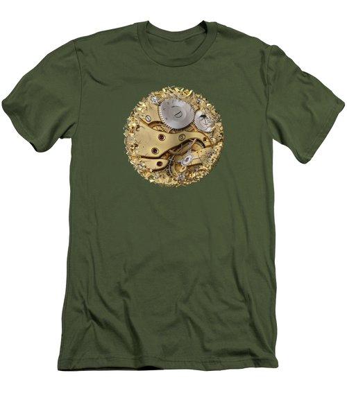 Warped And Shattered Clockwork Mechnism Men's T-Shirt (Slim Fit) by Michal Boubin
