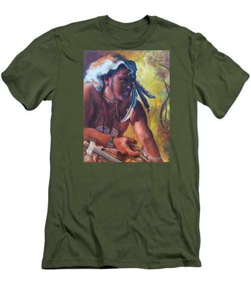 Men's T-Shirt (Slim Fit) featuring the painting Warrior Of The Gate by Karen Kennedy Chatham