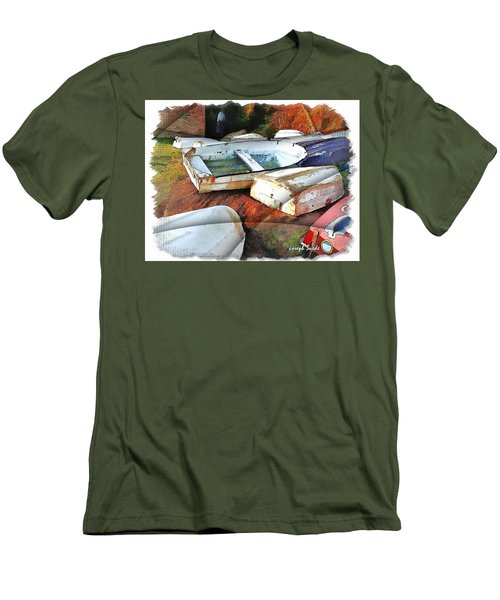 Men's T-Shirt (Slim Fit) featuring the photograph Wat-0012 Tender Boats by Digital Oil