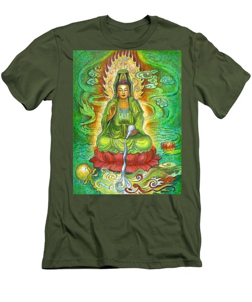 Men's T-Shirt (Slim Fit) featuring the painting Water Dragon Kuan Yin by Sue Halstenberg