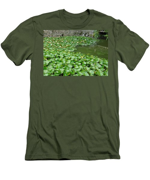 Water Lilies In The Moat Men's T-Shirt (Slim Fit) by Susan Lafleur