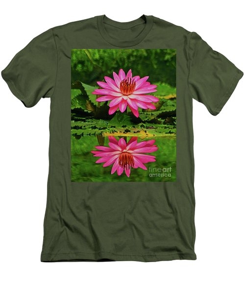 Hot Pink Water Lily Reflection Men's T-Shirt (Slim Fit) by Larry Nieland