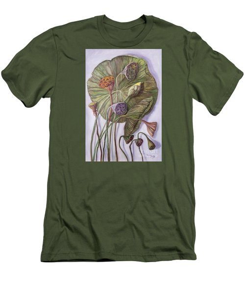 Water Lily Seed Pods Framed By A Leaf Men's T-Shirt (Slim Fit) by Randy Burns