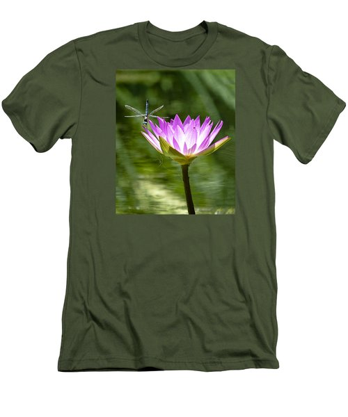 Men's T-Shirt (Slim Fit) featuring the photograph Water Lily With Dragon Fly by Bill Barber