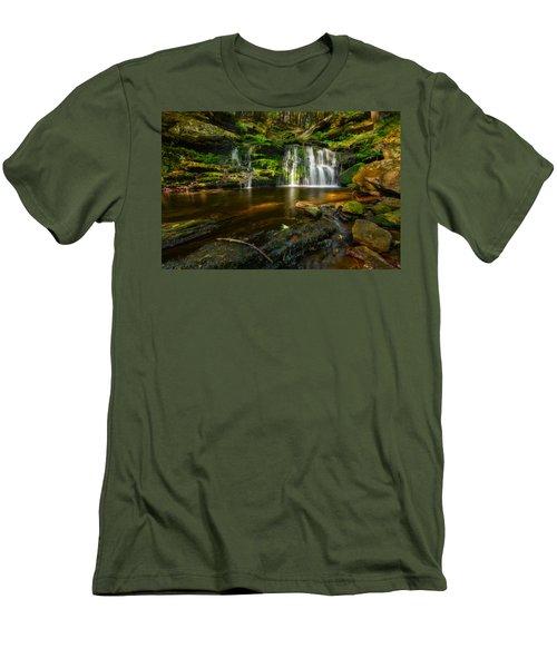Waterfall At Day Pond State Park Men's T-Shirt (Slim Fit) by Craig Szymanski
