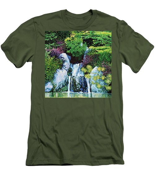 Waterfall At Japanese Garden Men's T-Shirt (Athletic Fit)