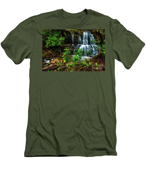 Men's T-Shirt (Slim Fit) featuring the photograph Waterfall On Back Fork by Thomas R Fletcher