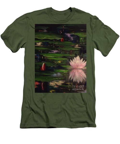 Men's T-Shirt (Slim Fit) featuring the painting Waterlilies - Original Sold by Therese Alcorn