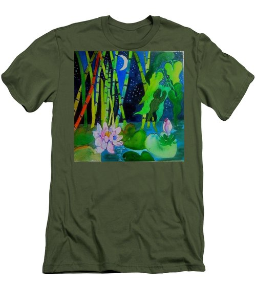 Waterlillies At Midnight Men's T-Shirt (Athletic Fit)