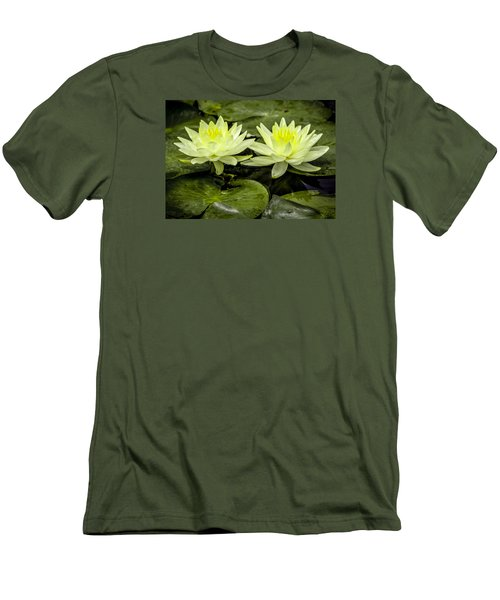 Waterlily Duet Men's T-Shirt (Slim Fit) by Venetia Featherstone-Witty