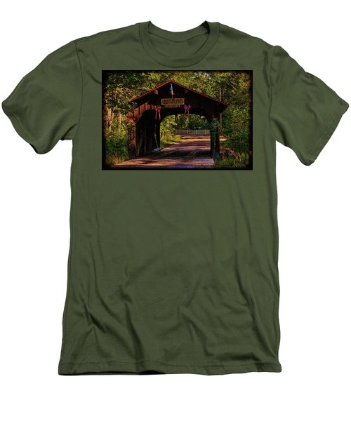Men's T-Shirt (Slim Fit) featuring the photograph Waupaca Covered Bridge by Trey Foerster