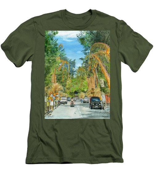 Men's T-Shirt (Slim Fit) featuring the painting Weeping Janur Bali Indonesia by Melly Terpening